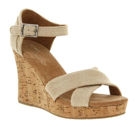 toms strappy wedge sandal toms strappy wedge in beige lyst
