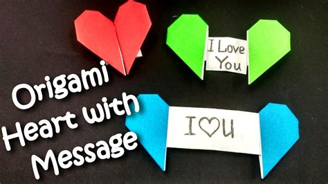 origami heart  message valentines youtube