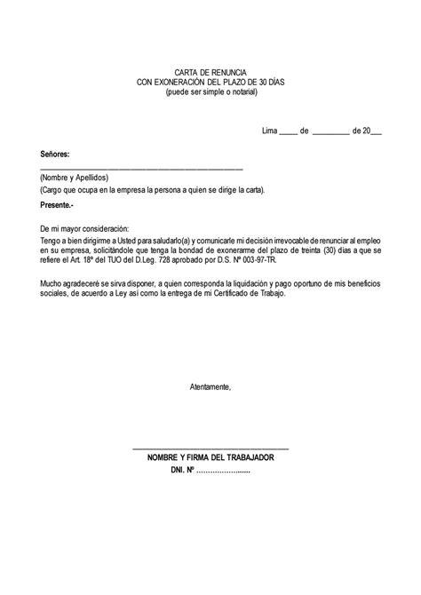 Carta renuncia exoneracion 30 días by Edi - Issuu