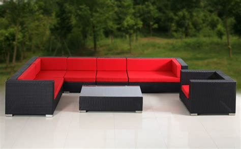 red outdoor sectional 8pc outdoor patio wicker sofa sectional set furniture red