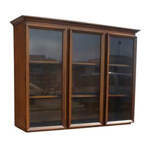vintage walnut glass bookcase hutch china cabinet