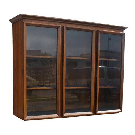 Hutch With Glass Doors Vintage Walnut Glass Bookcase Hutch China Cabinet