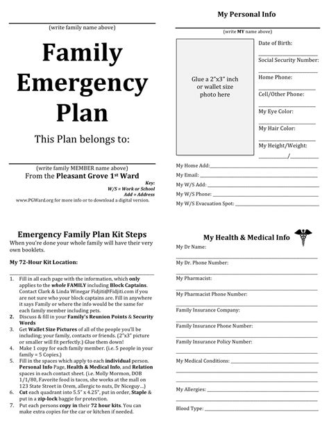 family emergency plan template family emergency plan printable documents for your