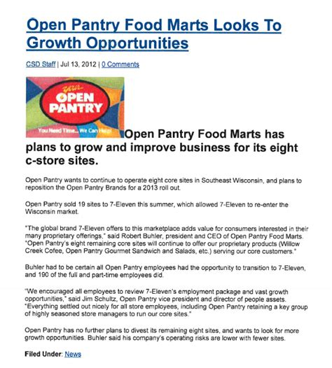 open pantry open pantry food marts looks to growth