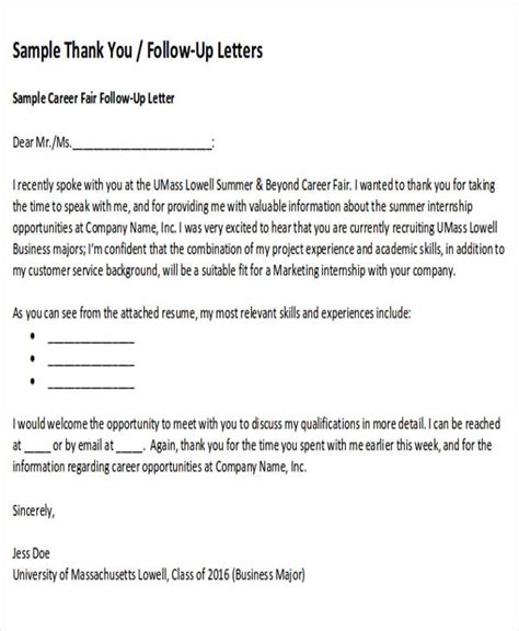 Follow Up Thank You Letter Format sle thank you follow up letters 5 exles in word pdf