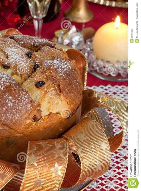 panettone traditional italian christmas cake stock photo