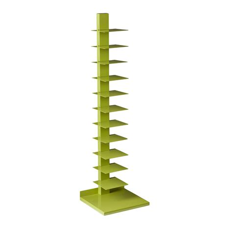 Metal Spine Bookcase southern enterprises spine book media tower lime green