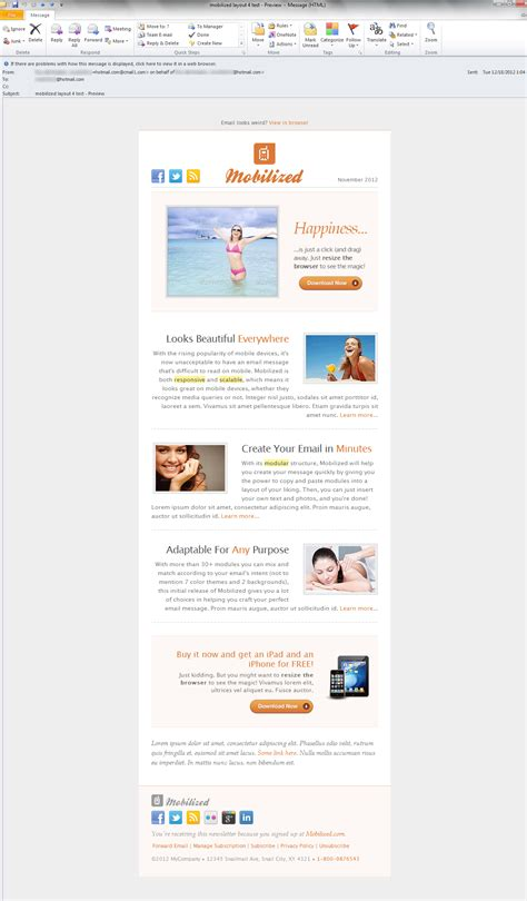 outlook layout email preview mobilized i responsive modular email templates by