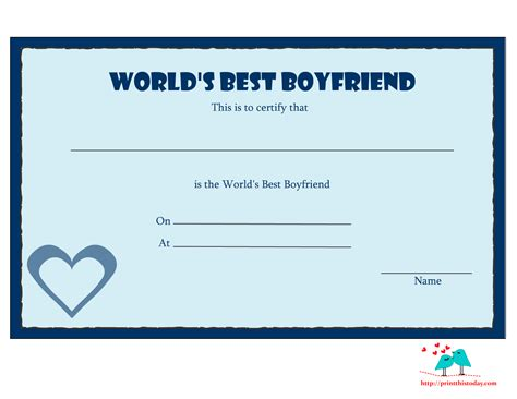 Free Printable World S Best Boyfriend Certificates Coloring Pages For Your Boyfriend Free