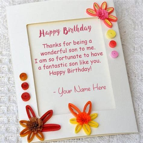 son birthday wishes greeting card write  image