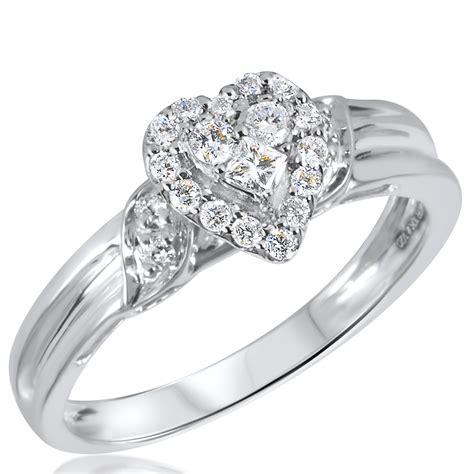 1 3 ct t w s bridal wedding ring set 10k