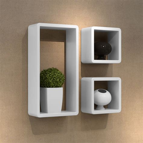 high gloss mdf 3 wall cube shelf standing hanging storage