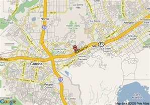 map of corona california map of ayres inn corona east corona