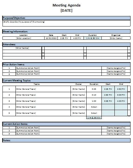Free Excel Meeting Agenda Template Download Meeting Minutes Template Excel