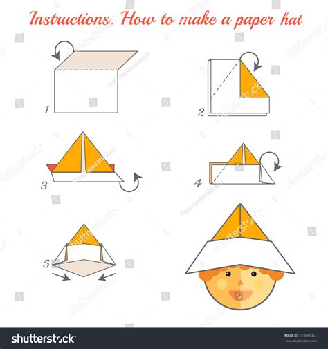 How To Fold Paper Hats - how make paper hat tutorial stock vector