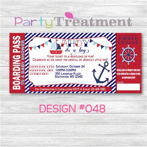 Boarding Pass Baby Shower Invitations by Nautical Baby Shower Boarding Pass Invitation 048