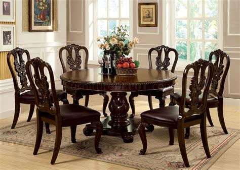 Cm3319rt Bellagio Dining Table In Brown Cherry W Options Bellagio Dining Table