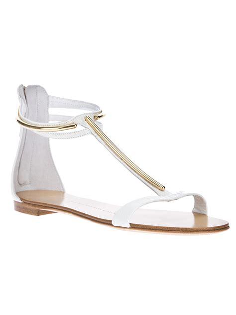 white sandals lyst giuseppe zanotti t bar sandal in white