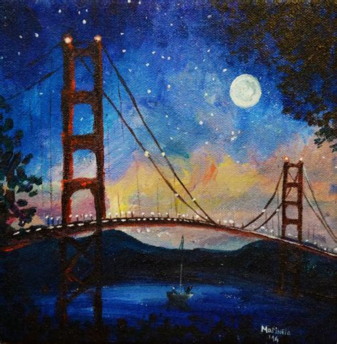 paint nite san francisco moonshine at golden gate bridge san francisco painting by