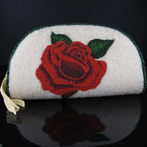 beadwork rose beadwork reversible beaded coin purse