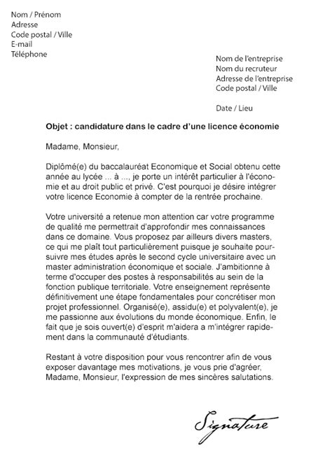 Lettre De Motivation De Redoublement Lettre De Motivation Licence 201 Conomie Mod 232 Le De Lettre
