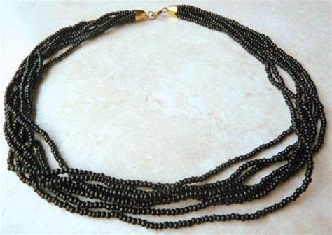 multi strand black bead necklace vintage black seed bead multi strand necklace