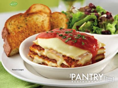 the pantry restaurant menus for lunch and dinner
