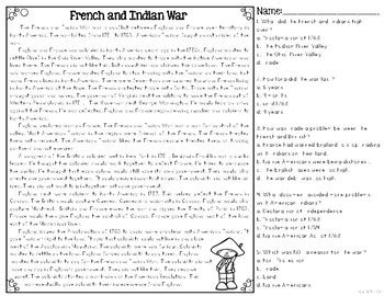 french indian war differentiated reading passages