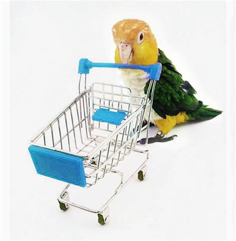 multi colors mini shopping cart trolley pet bird parrot