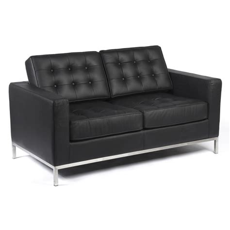 Two Seater Black Leather Sofa Two Seater Knoll Style Black Leather Sofa 163 949 99 Groovy Home Funky Contemporary