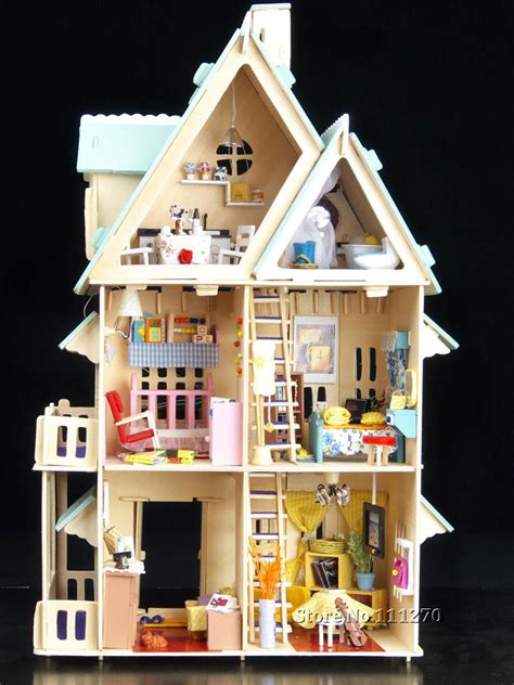 wooden doll houses kits 3d puzzle wooden toys kits large villa diy wooden dollhouse with voice control light