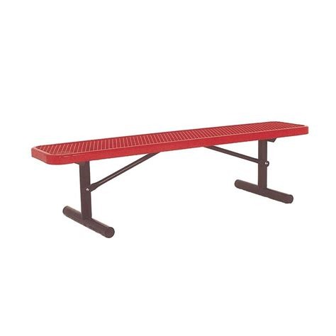 red park bench ultra play 6 ft diamond red portable commercial park bench without back surface mount