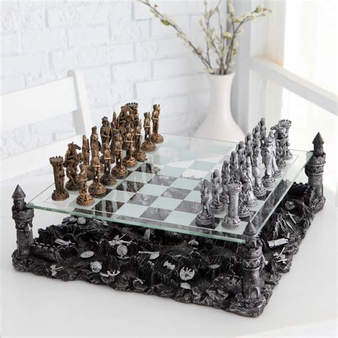 Fancy Chess Set | fancy 3d knight pewter chess set