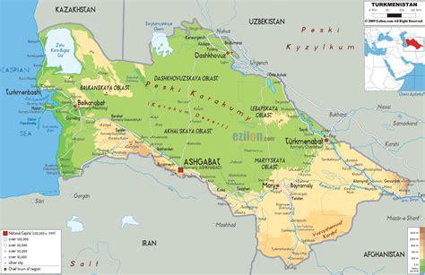 physical map of turkmenistan physical map of turkmenistan ezilon maps