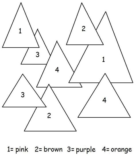 Triangle Worksheets And Coloring Pages Kids Shapes Theme Triangle Coloring Pages