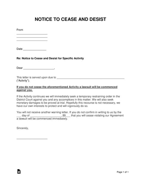 Free Cease And Desist Letter Templates With Sle Word Pdf Eforms Free Fillable Forms Cease And Desist Template