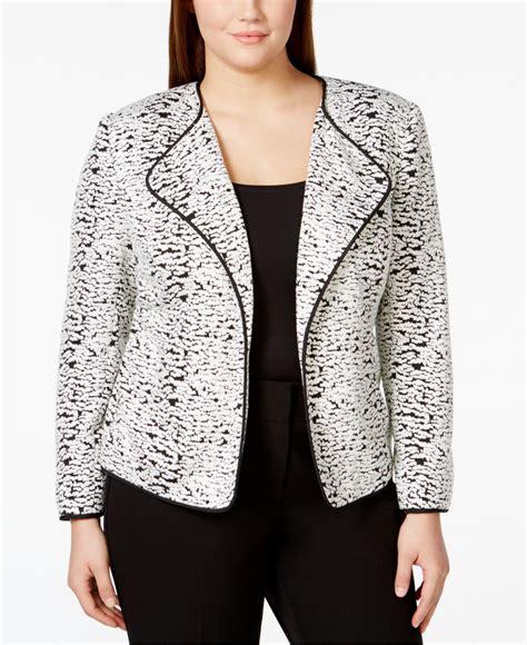 plus size knit jacket lyst calvin klein plus size textured knit open front jacket