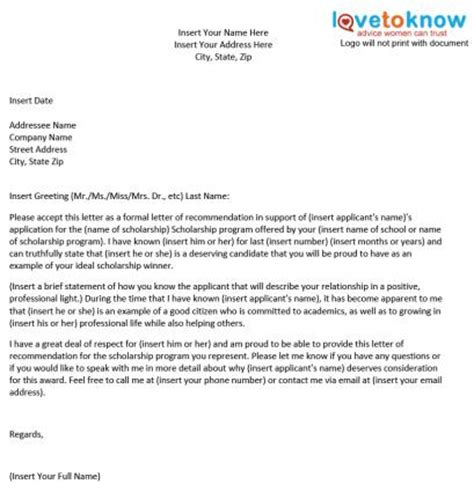 Writing Recommendation Letter For College Scholarship Sle Scholarship Recommendation Letter Lovetoknow
