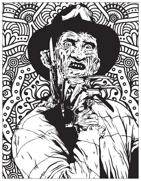 classic horror movies coloring pages freddy kruegger