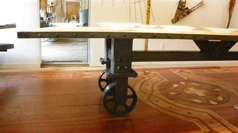 Industrial Dining Table, Reclaimed Vintage Oak Top & Industrial Trolley Base : Stissing Design