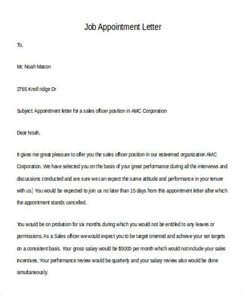 Appointment Letter Purpose Sle Appointment Letter In Doc 12 Exles In Word