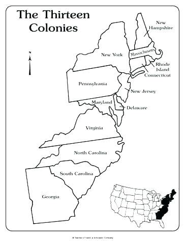Coloring Page 13 Colonies Map by Thirteen Colonies Map Worksheet Resultinfos