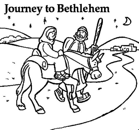 Coloring Pages Mary And Joseph Bethlehem | mary and the donkey and joseph near bethlehem coloring