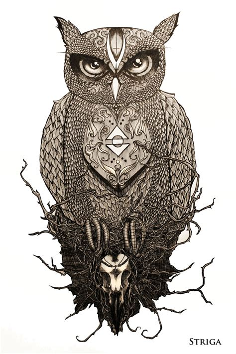 the owl tattoo design by striga art on deviantart