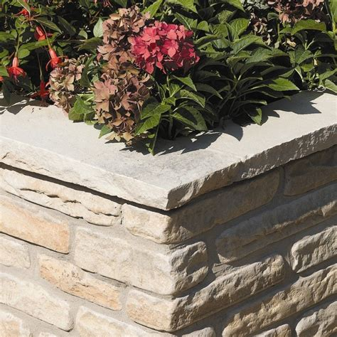 Bradstone Natural Sandstone Walling Fossil Buff Coping Garden Wall Coping Stones
