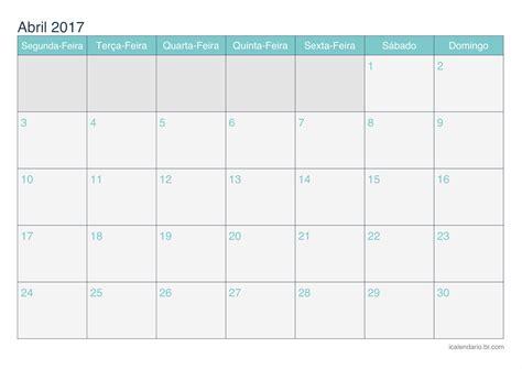 Abril Calendario Calend 225 Abril 2017 Para Imprimir Icalend 225 Br