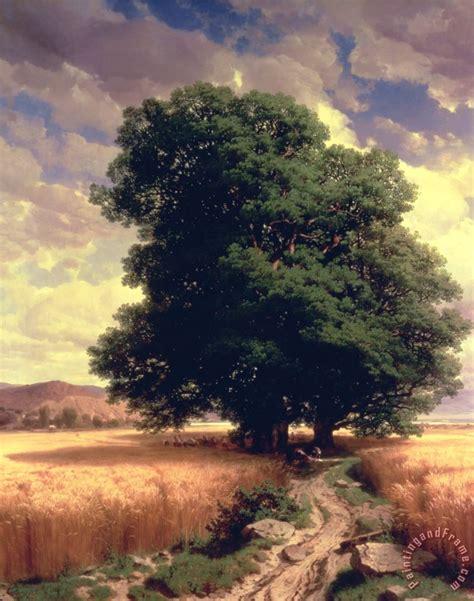 oaks landscaping alexandre calame landscape with oaks painting landscape with oaks print for sale
