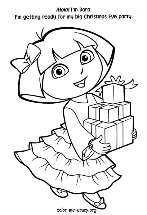 dora christmas coloring pages free printable free christmas coloring pages dora christmas coloring