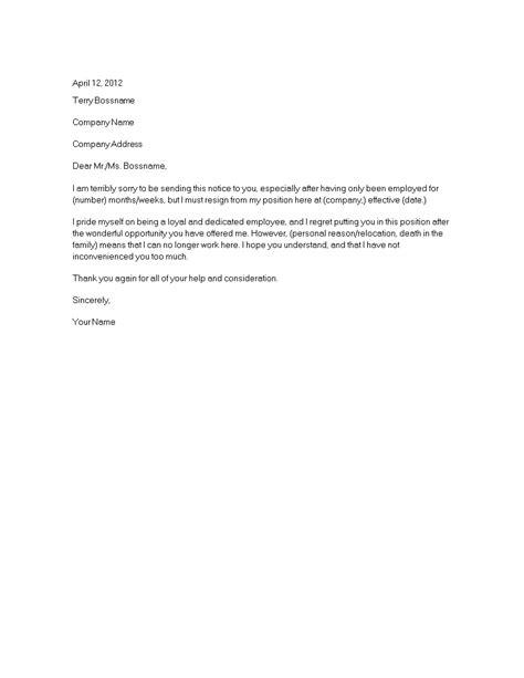 short employment resignation letter templates