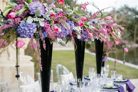 black vases for wedding centerpieces high wedding reception centerpieces in black vases